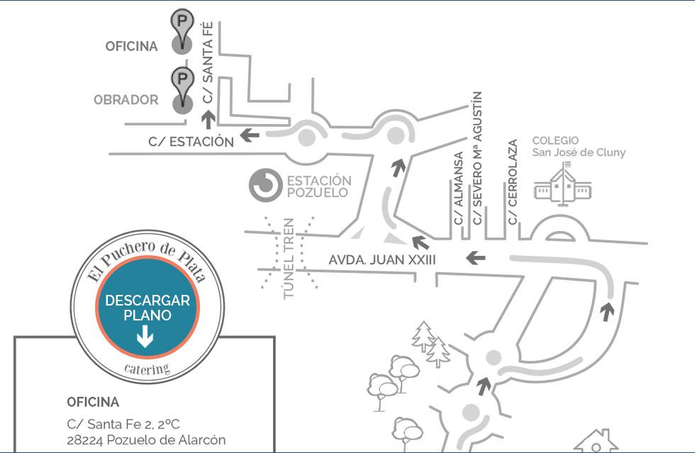 Plano acceso oficinas El Puchero de Plata